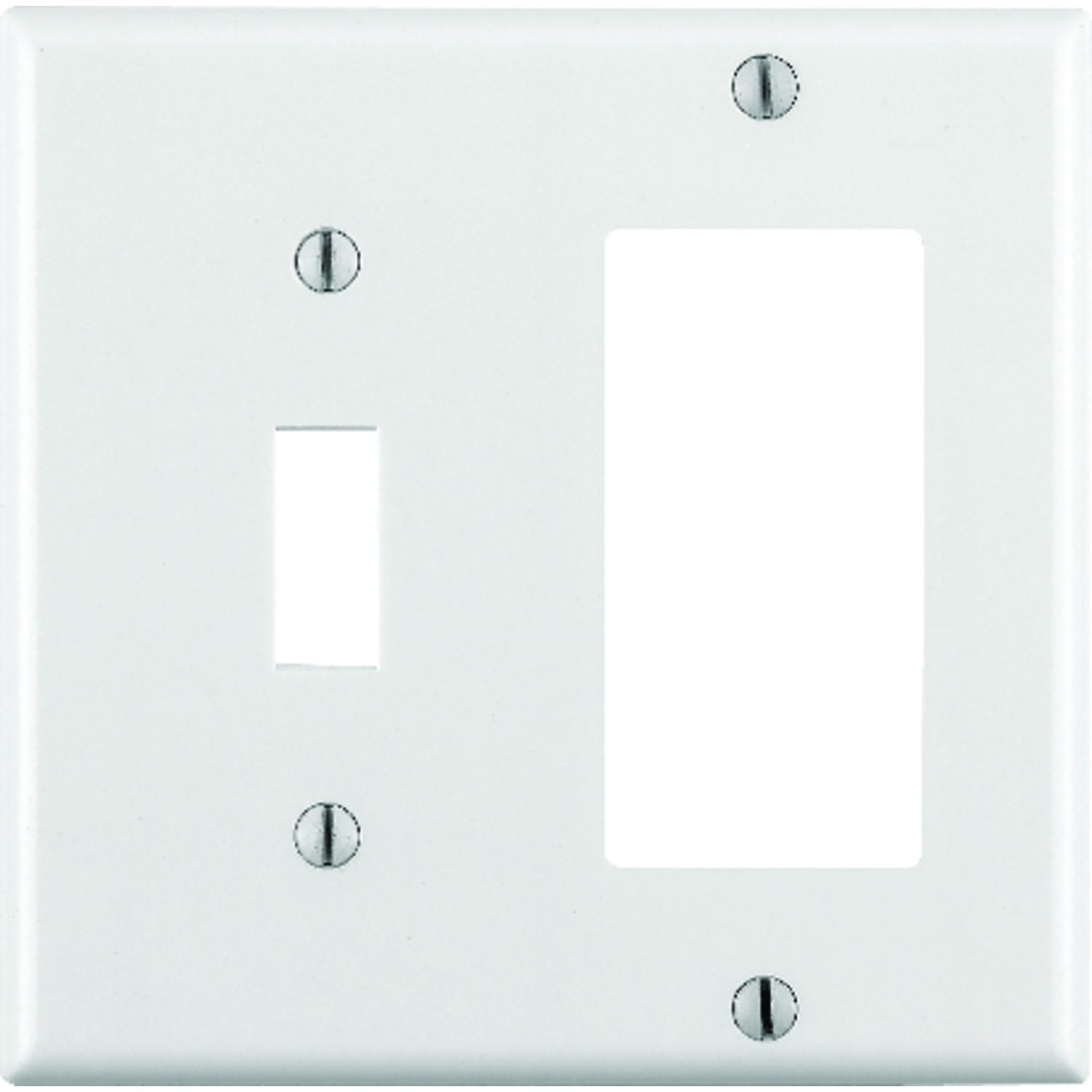 Leviton  White  2 gang Plastic  Wall Plate  1 pk GFCI/Rocker/Toggle