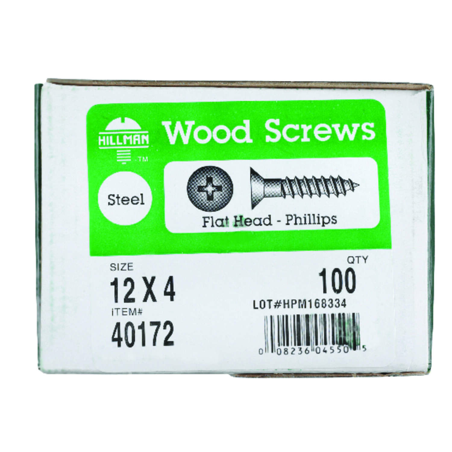HILLMAN  No. 12   x 4 in. L Phillips  Flat  Zinc-Plated  Steel  Wood Screws  100 pk
