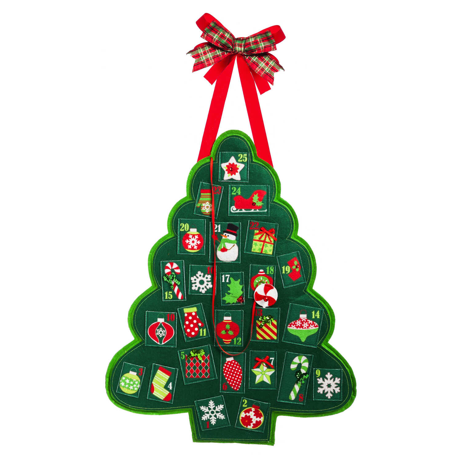 Evergreen  Christmas Advent Tree Calendar  Door Hanger  Green  Felt  1 pk