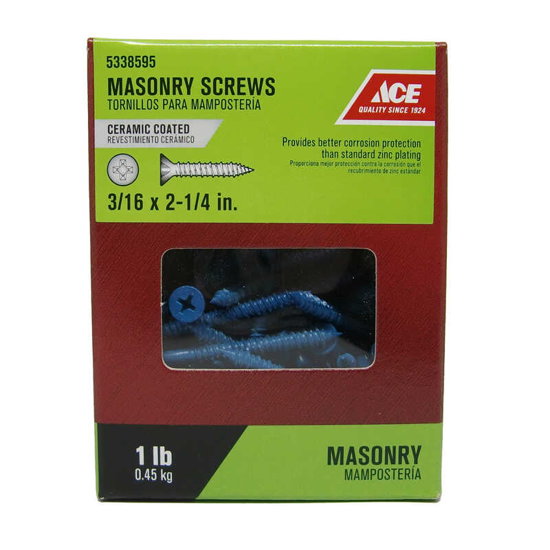 Ace  3/16 in.   x 2-1/4 in. L Phillips  Flat Head Ceramic  Steel  Masonry Screws  1 lb. 80 pk