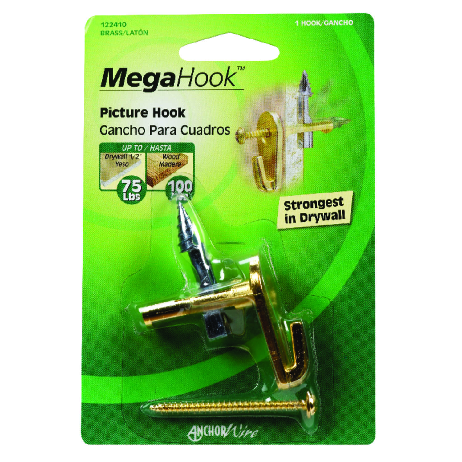 HILLMAN  MegaHook  Brass-Plated  Heavy Duty  Brass  100 lb. 1 pk Picture Hook