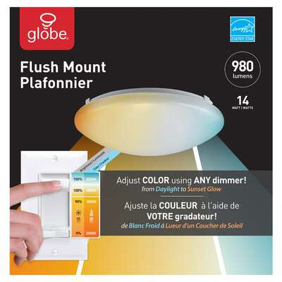 Globe Electric  DuoBright  3.1 in. H x 11 in. W x 11 in. L White  LED Ceiling Light Fixture
