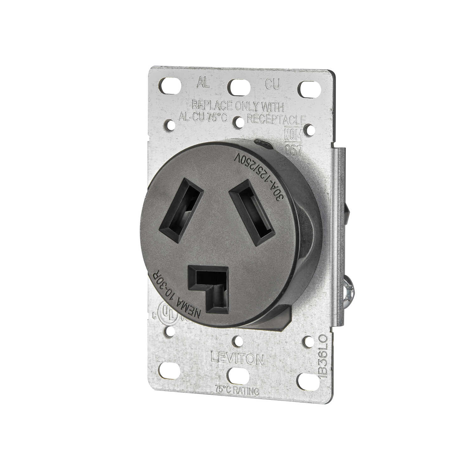Leviton  30 amps 125/250 volt Black  Outlet  10-30R  1 pk