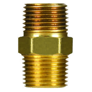 JMF  1/4 in. Dia. x 1/4 in. Dia. MPT To MPT  Yellow Brass  Hex Pipe Nipple