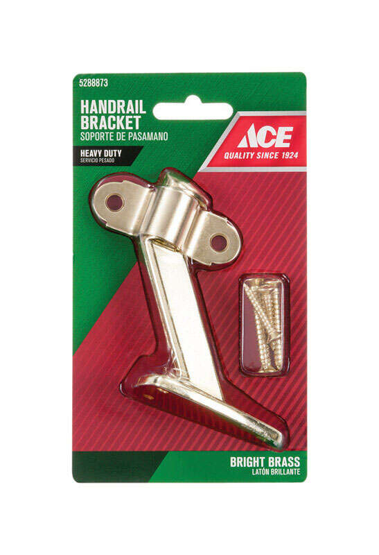 Ace  Bright Brass  Steel  3.25 in. H x 3.375 in. W Heavy Duty Hand Rail Bracket