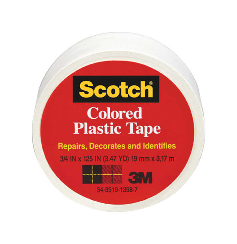 Scotch  White  125 in. L x 3/4 in. W Plastic Tape