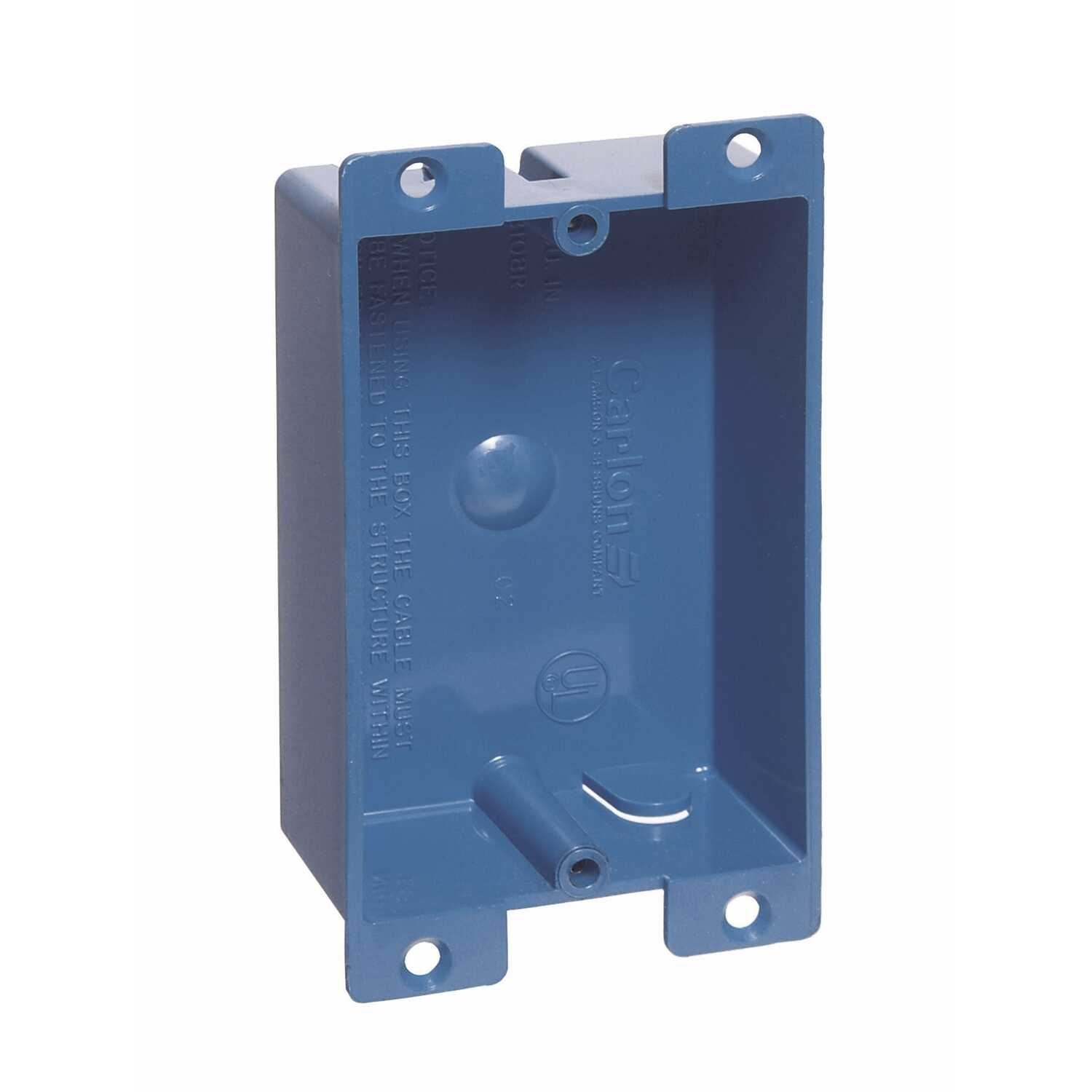 Carlon 3-5/8 in  Rectangle PVC 1 Gang Outlet Box Blue - Ace