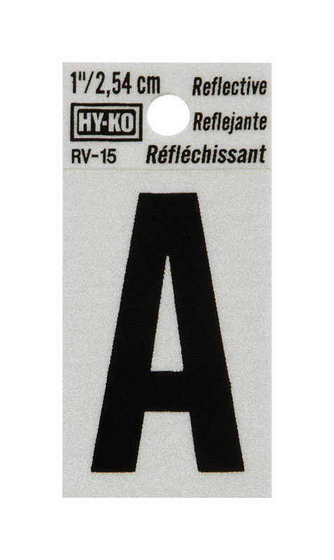 Hy-Ko  1 in. Reflective Vinyl  Black  A  Letter  Self-Adhesive