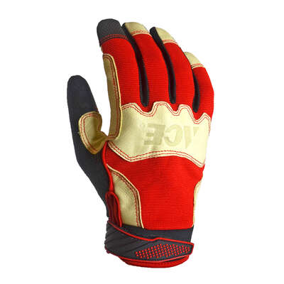 Ace Men's Indoor/Outdoor Pigskin Leather Work Gloves Red M 1