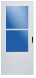 LARSON  81 in. H x 32 in. W Vinyl/Wood  White  Mid-View  Reversible  Self-Storing Storm Door
