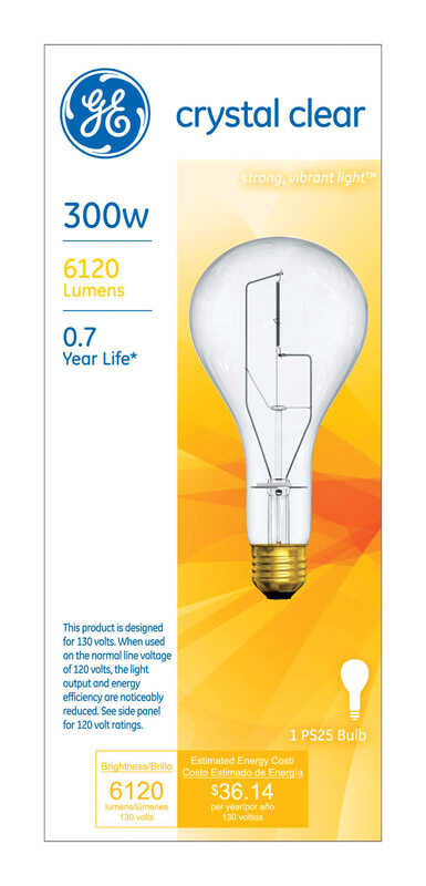 GE  Multi-Vapor  300 watts PS25  Incandescent Bulb  6120 lumens Soft White  A-Line  1 pk