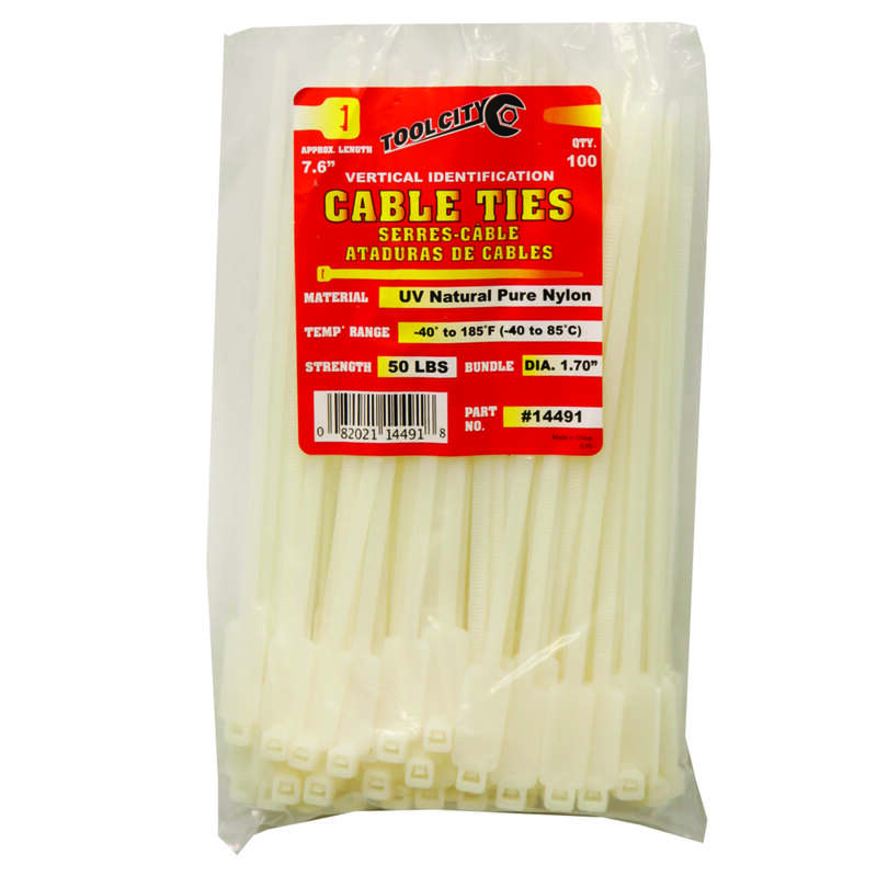 Tool City 7.6 in. L White Cable Tie 100 pk