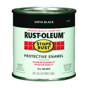 Rust-Oleum  Indoor and Outdoor  Satin  Protective Enamel  Black  0.5 pt.