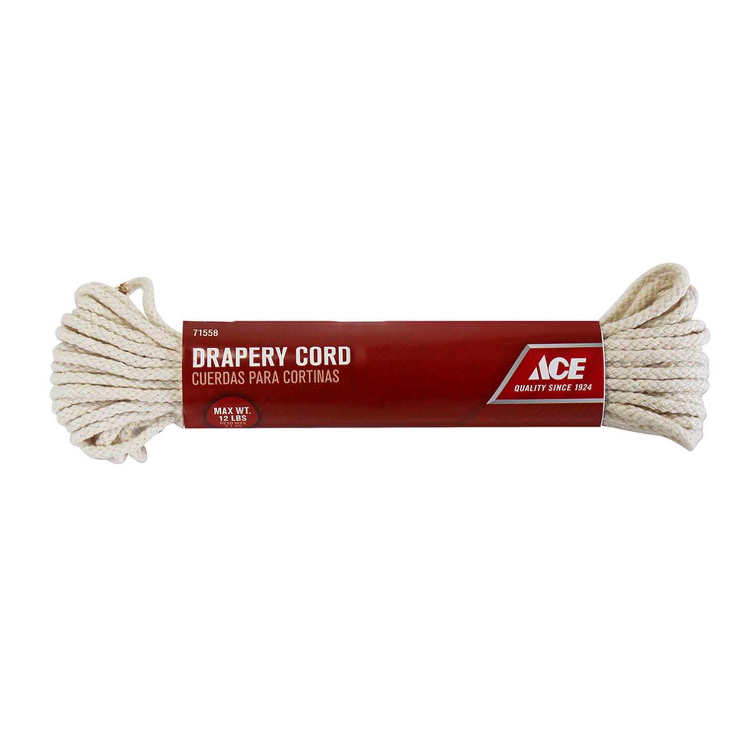 Ace  7/64 in. Dia. x 48 ft. L Braided  Cotton  Cord  White