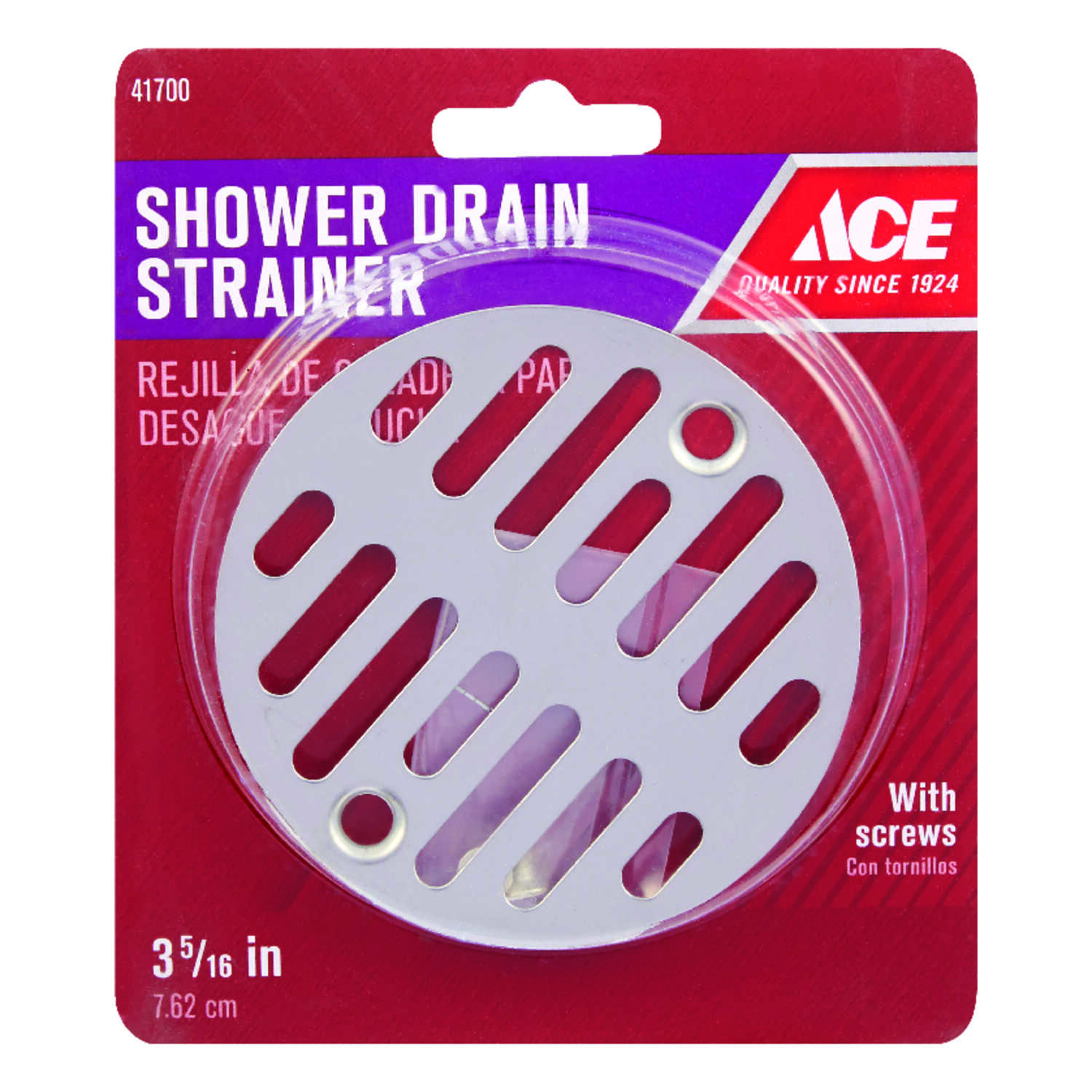 Ace  3-3/8 in. Natural  Stainless Steel  Shower Drain Strainer
