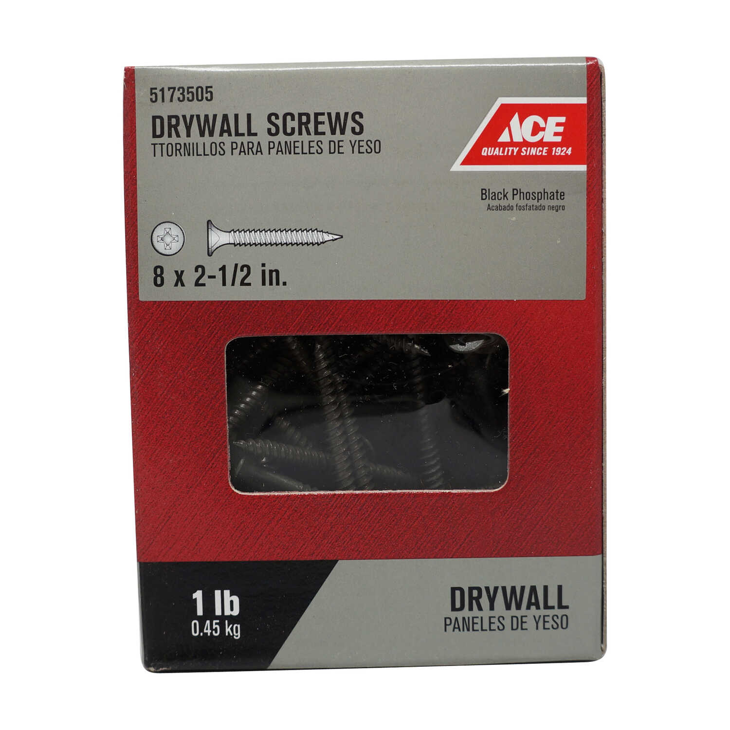 Ace  No. 8   x 2-1/2 in. L Phillips  Bugle Head Black Phosphate  Steel  Drywall Screws  1 lb. 112 pk