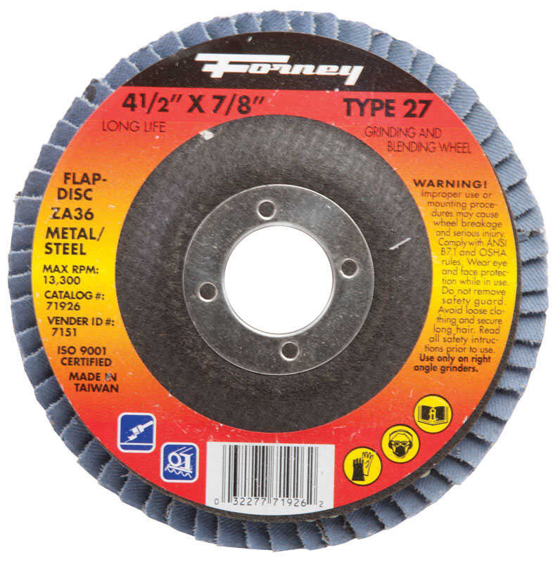 Forney  4-1/2 in. Dia. x 5/8 in.  Zirconia Aluminum Oxide  Flap Disc  60 Grit Fine  13300 rpm 1 pc.