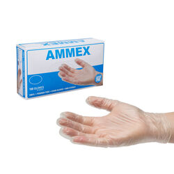 Ammex  Vinyl  Disposable Gloves  Medium  Clear  Powder Free  100 pk