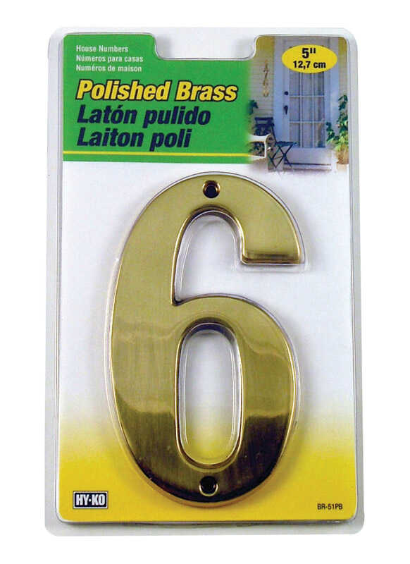 Hy-Ko  5 in. Brass  Gold  6  Number  Nail-On