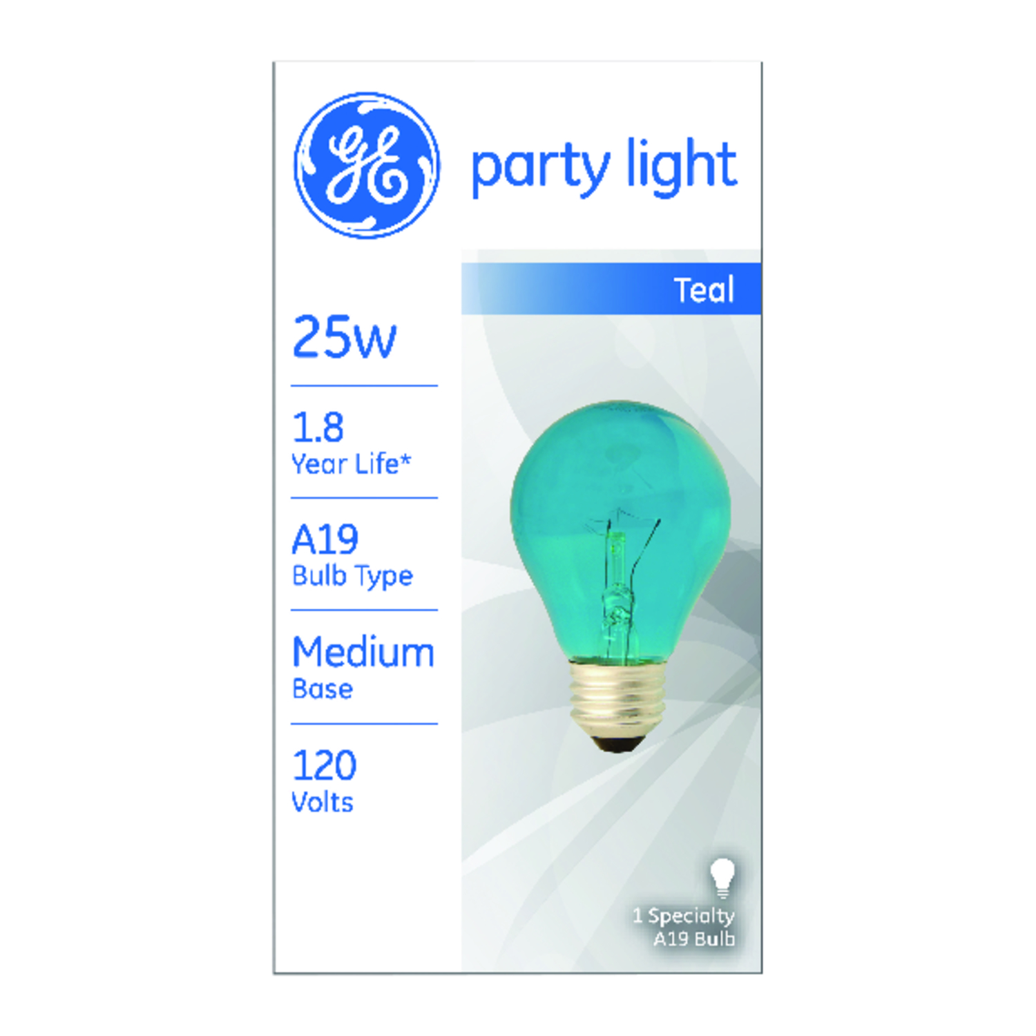 GE Lighting  party light  25 watts A19  Incandescent Bulb  White  A-Line  1 pk