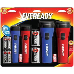Energizer  Eveready  25 lumens Black/Blue/Red  LED  Flashlight  AA/D Battery