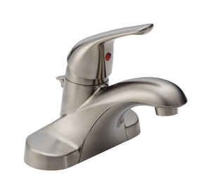 Delta  Foundation  Single Handle  Lavatory Pop-Up Faucet  4 in. Stainless Steel