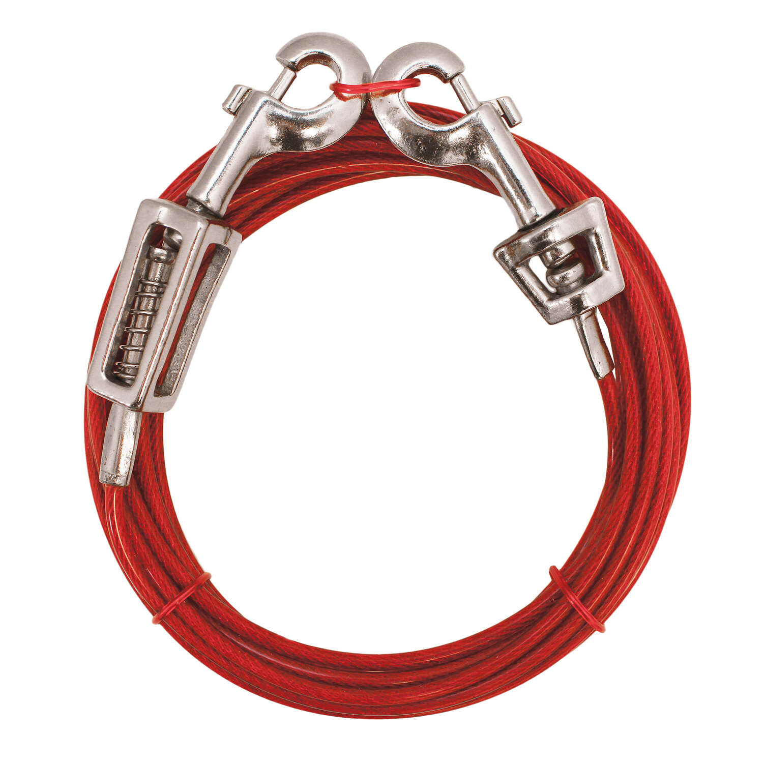Boss Pet  Red  Vinyl Coated Cable  Dog  Tie Out  Large