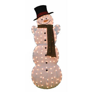 Candy Cane Lane  Pre-Lit Snowman  Yard Art  Metal  1 pk White