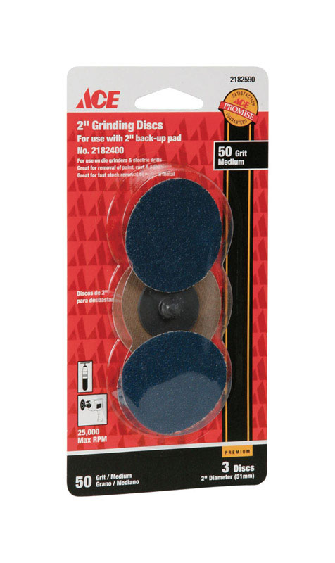 Ace  2 in. Aluminum Oxide  Twist and Lock  Grinding Disc  3 pk 50 Grit Medium