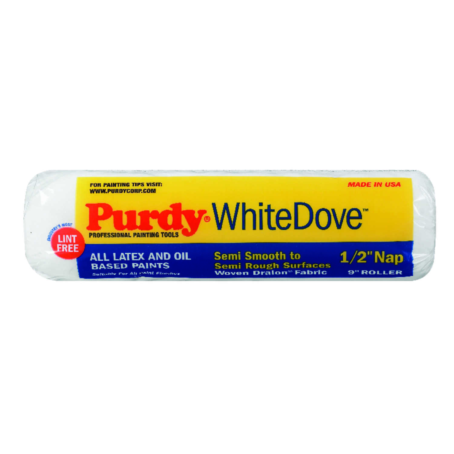 Purdy  White Dove  Dralon  1/2 in.  x 9 in. W Paint Roller Cover  For Semi-Smooth Surfaces 1 pk