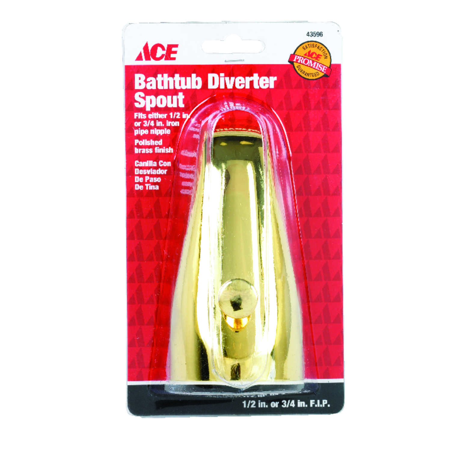 Ace  Bathtub Diverter Spout  n/a  Polished Brass Finish Metal Material