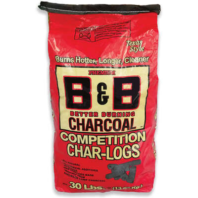B&B Charcoal  Competition Char-Logs  All Natural Hardwood  Charcoal Briquettes  30 lb.