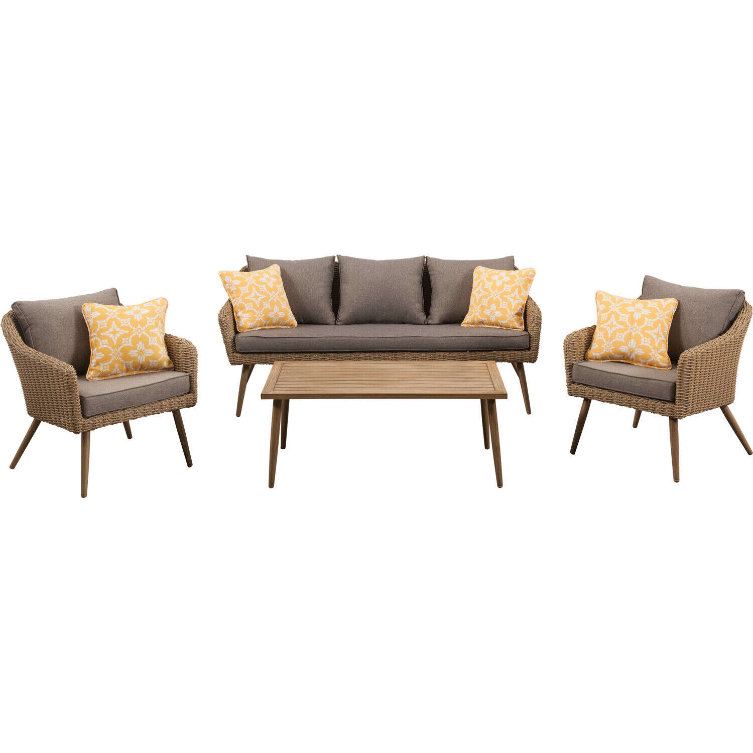Mod  Jaden  4 pc. Brown  Aluminum Frame Seating Set  Gray