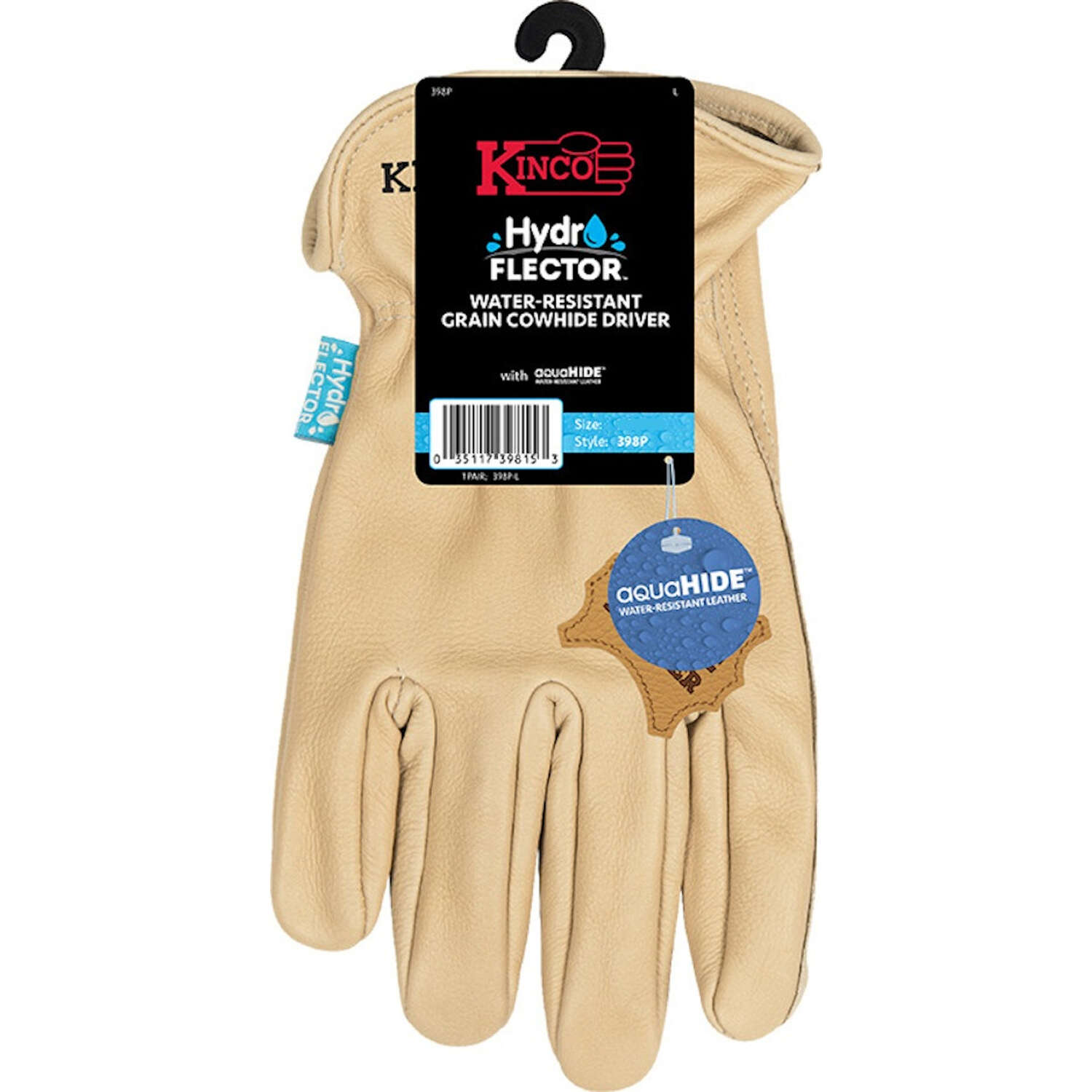 Kinco  Hydroflector  Men's  Indoor/Outdoor  Premium Grain  Driver Gloves  Tan  L  1 pair