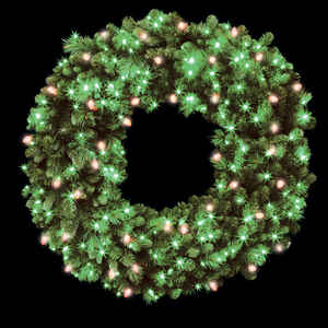 Celebrations  Prelit Green  Wreath  48 in. Dia. Red/Green