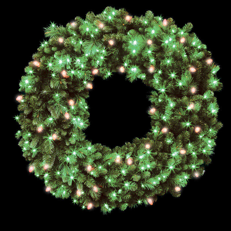 Celebrations  Green  Wreath  48 in. Dia. Red/Green  Prelit
