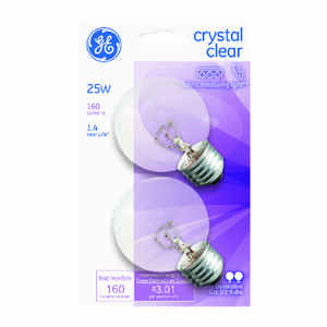 GE Lighting  25 watts G16.5  Incandescent Bulb  160 lumens Cool White  Globe  2 pk