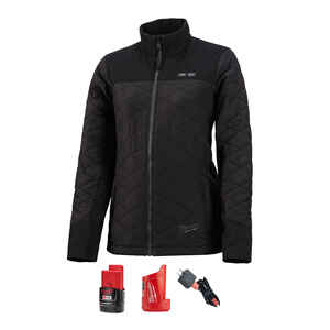 Milwaukee  M12 AXIS  XXL  Long Sleeve  Women's  Full-Zip  Heated Jacket Kit  Black