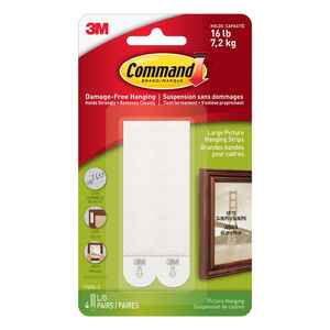 3M  Command  White  Foam  16 lb. 8 pk Picture Hanging Strips