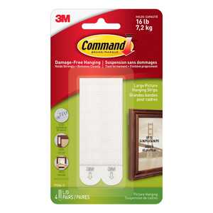 3M  Command  Large  Picture Hanging  Foam  Picture Hanging Strips  16 lb. 8 pk 4 lb. per Set  White