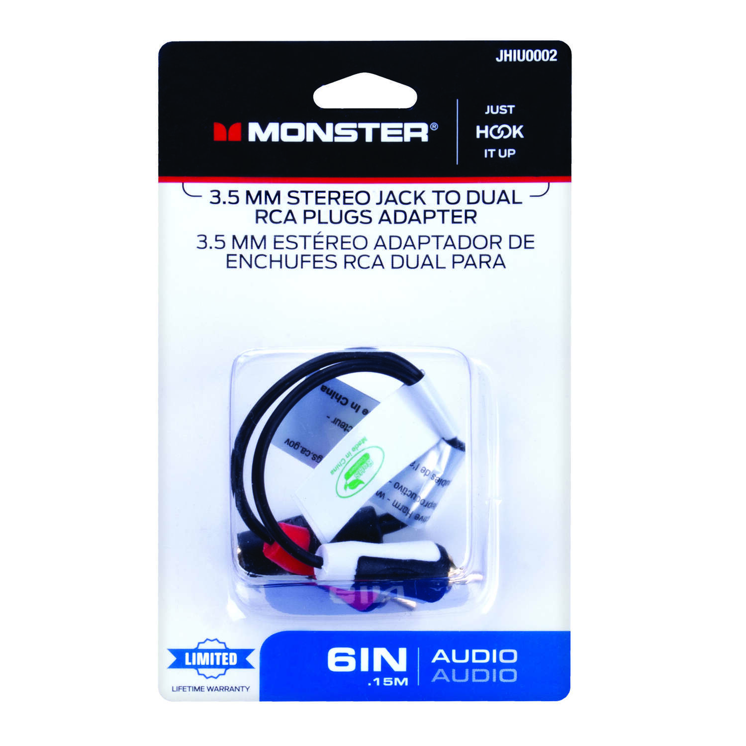 Monster Cable  Just Hook It Up  Audio Visual Adapter  1 pk