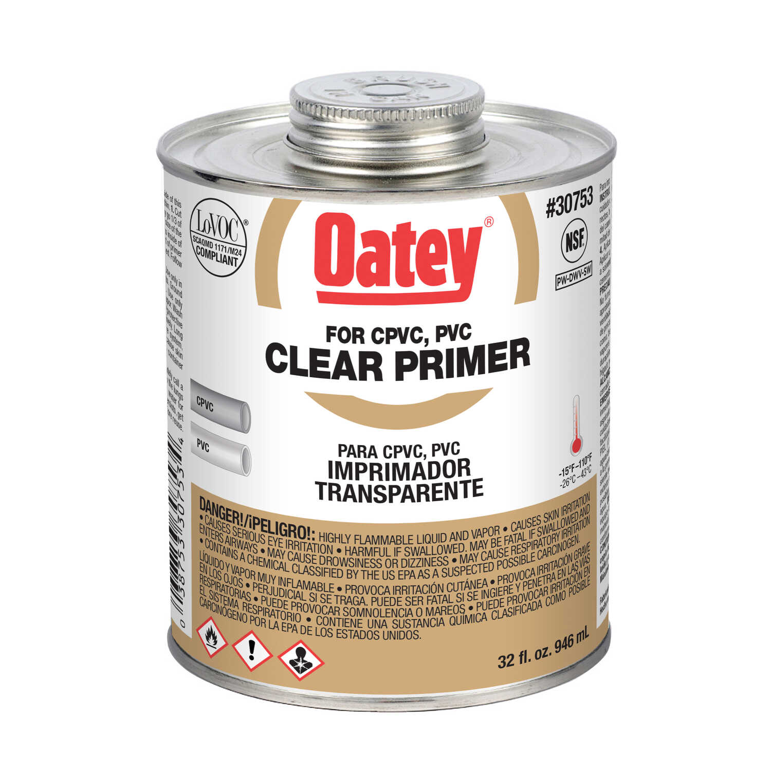 Oatey  Clear  Primer and Cement  32 oz. For CPVC/PVC