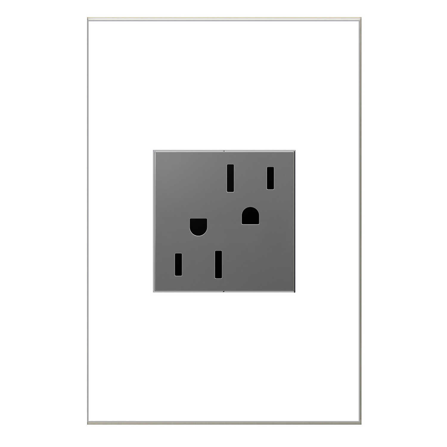 Legrand  Adorne  15 amps 125 volts Silver  Outlet  5-15 R  1 pk