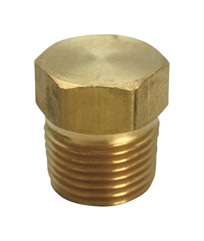 JMF  1/4 in. Dia. MPT  Yellow Brass  Hex Head Plug