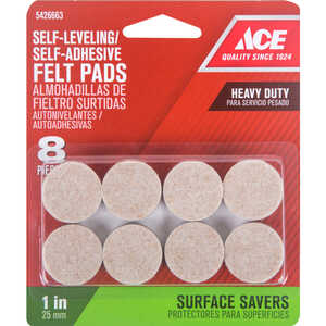 Ace  Felt  Self Adhesive Pad  Round  1 in. W 8 pk Self Adhesive Brown