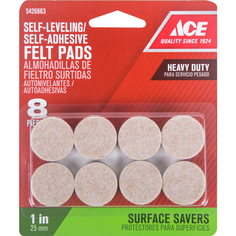 Ace  Felt  Pad  Brown  Round  1 in. W 8 pk Self Adhesive