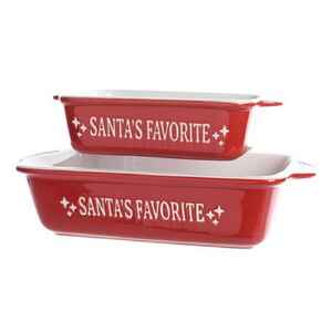 Decoris  Mrs. Claus' Secret Recipe  Christmas Oven Dish  Red  Stoneware  2 pc.