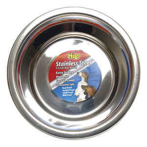 Hilo  Silver  Plain  Stainless Steel  4 cups Pet Dish  For Dog