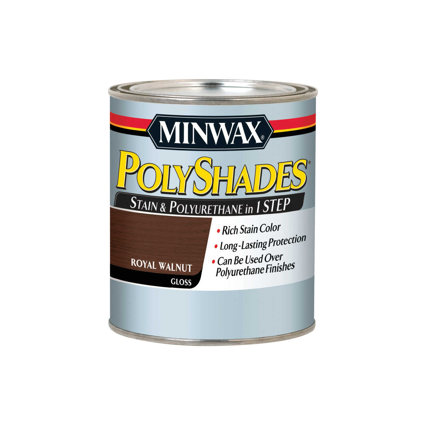 Minwax  PolyShades  Semi-Transparent  Gloss  Royal Walnut  Oil-Based  Stain  1 qt.