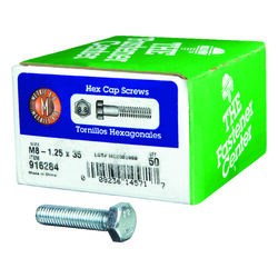 Hillman M8-1.25 mm Dia. x 35 mm L Heat Treated Steel Hex Head Cap Screw 50 pk